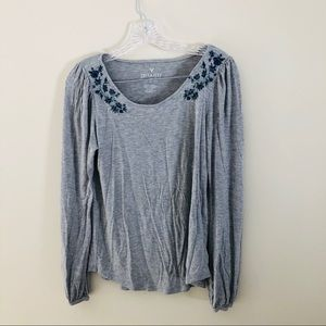 AE soft and Sexy grey embroidered long sleeve top